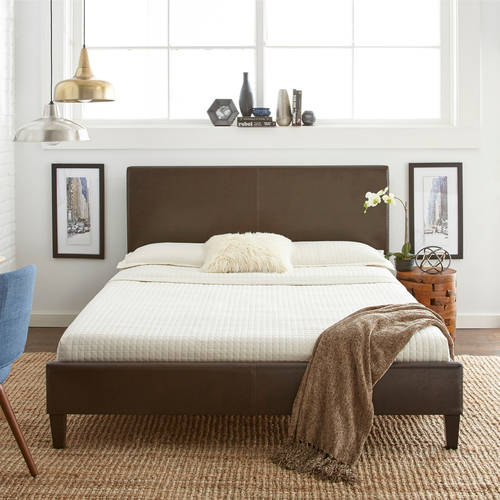 Premier Zurich Faux Leather Queen Brown Upholstered Platform Bed Frame with Bonus Base Wooden Slat System