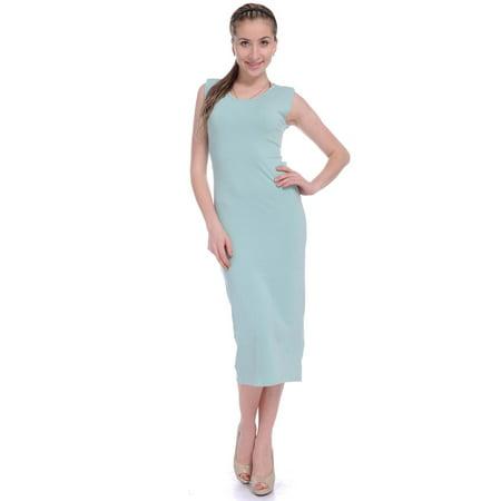 Length Cut Out - Anna-Kaci S/M Fit Green Sporty & Chic Back Slit Cut Out Calf  Length Shift Dress