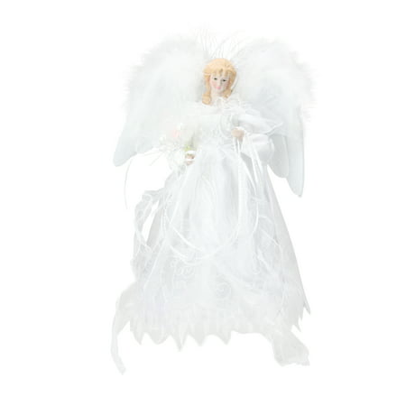 """12"""" Lighted LED Fiber Optic White and Silver Angel ..."""
