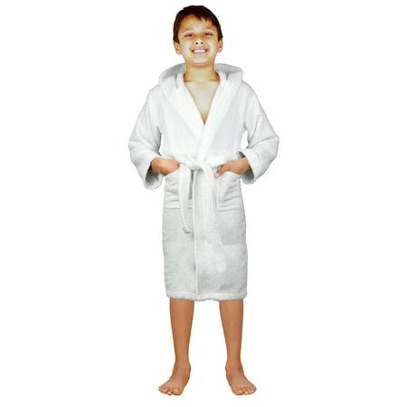 SKYLINEWEARS Terry Cloth 100% Cotton Kid s Boys   Girls Hooded Bathrobe  White 6 - Walmart.com dfb78726a