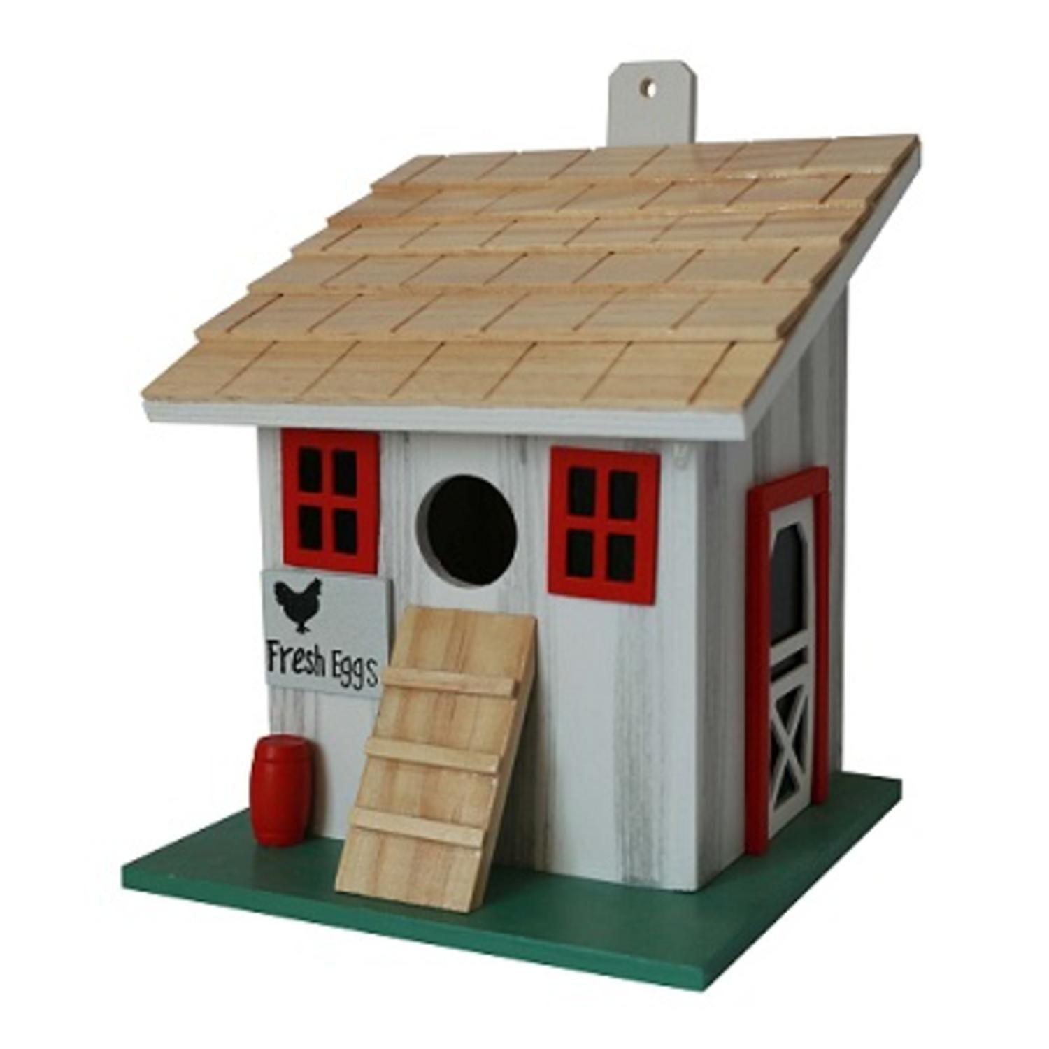 "8"" Fully Functional White and Red Farmstead Corral Junior Outdoor Garden Birdhouse by Bird Houses"