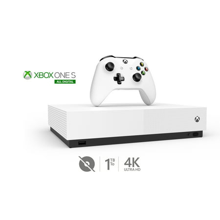 Microsoft Xbox One S All-Digital Edition 4K 1TB Console with Wireless Controller - No Games