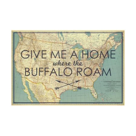 1933 Fine Art (Give me a Home where the Buffalo Roam - 1933 United States of America Map Print Wall Art By National Geographic Maps)