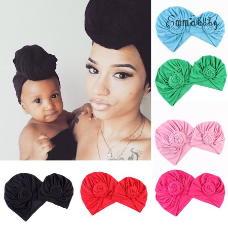 2Pcs Mom Mother Baby Child Warm Twist Knot Turban Cap Kids Boys Girls Beanie Hat Top Knit Beanie