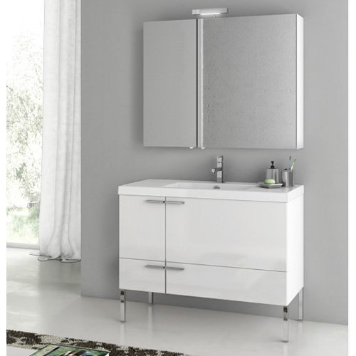 ACF by Nameeks ACF ANS26-GW New Space 39-in. Single Bathroom Vanity Set - Glossy White