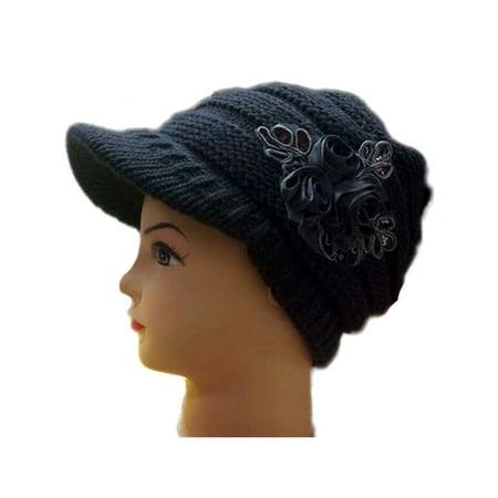 Women's Wool Knitted Hat Crochet Visor Beanie Sequins Flower Winter Warm Caps Womens Visor Beanie