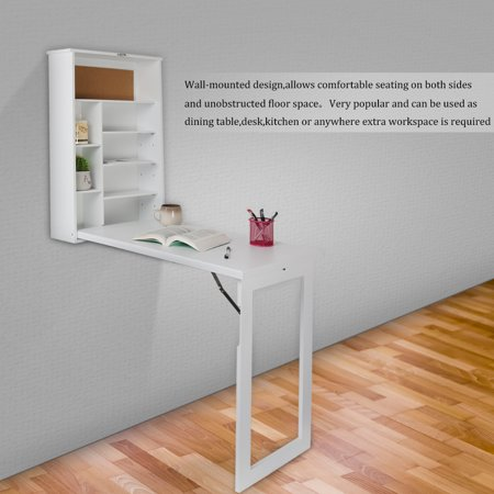Foldable Wall Mount Desk Folding Fold Out Table Computer Desktop With Shelves Storage Convertible Study Writing