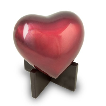 - Bronze Dog, Cat Animal Memorial Urn - Extra Small 20 Pounds - Ruby Red Arielle Heart - Engraving Sold Separately