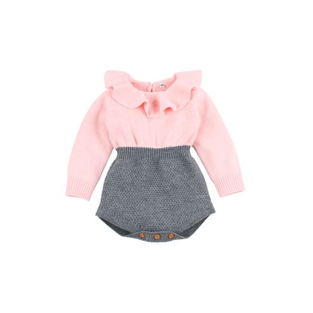 6e68a62a1 Ownshoe - Baby Girls Romper Knitted Ruffle Long Sleeve Jumpsuit OutfitsBaby Toddler  Romper Autumn Winter Casual - Walmart.com