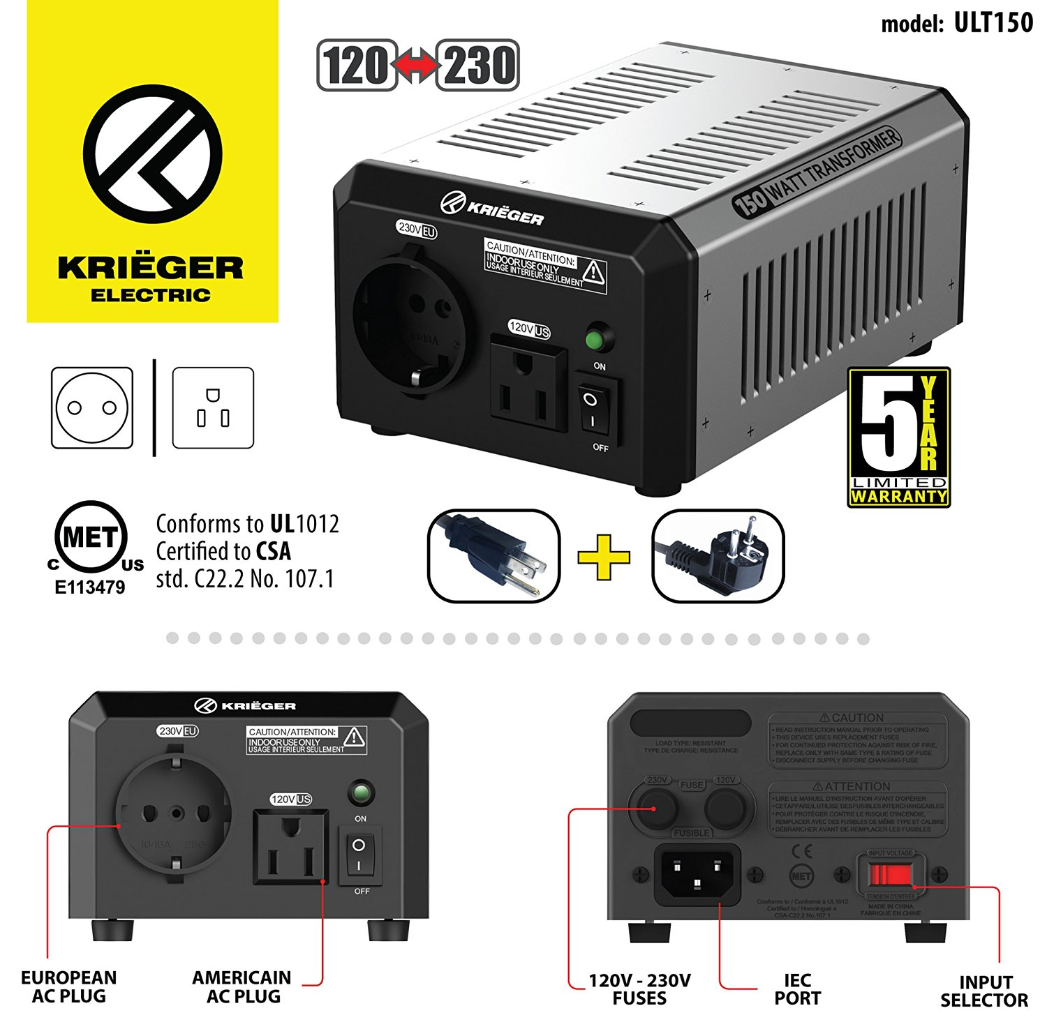 Krieger KRIËGER 150 Watt Voltage Transformer 120V to from 230V AC outlet American European Step up down Converter 50 60 Hz outlets includes IEC German Schuko Nema 5-15P cord connection MET certified approved under UL CSA ULT150
