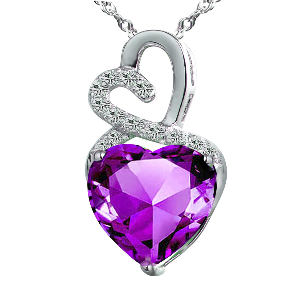 Devuggo Infinity 4.0Carat TCW Heart Cut Gemstone Created Amethyst 925 Sterling Silver Necklace Pendant with free... by
