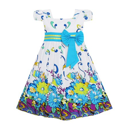 Girls Dress Blue Flower Short Sleeve Party Birthday Kids 2