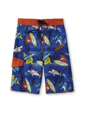 25066f6675 Product Image Boys Blue/Orange Surfing Sharks Swim Trunks Board Shorts. Joe  Boxer