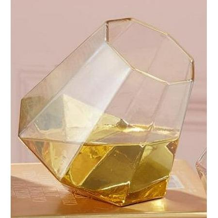 4cbb36f0b8e Two's Company Diamond Shape Stemless Wine Glasses Set of 2 (Gold)