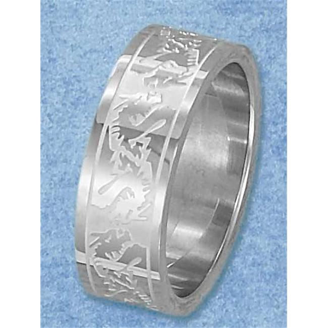 Plum Island Silver SR-3060-11 Stainless Steel Satin Finish and High Polish Etched Dragon Band - Size 11