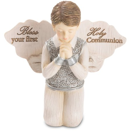 Pavilion - Bless Your First Holy Communion - Praying Boy Angel Figurine 3.5 Inches
