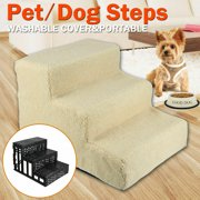 3 Steps Pet Stairs for Small Dog Cat Animal Soft Portable Folding Indoor Ramp Ladder Climb With Cover Beige