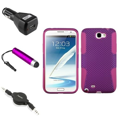 Insten Hot Pink/Purple Hybrid Case+Charger+Pen+Audio Cord For Samsung Galaxy Note 2