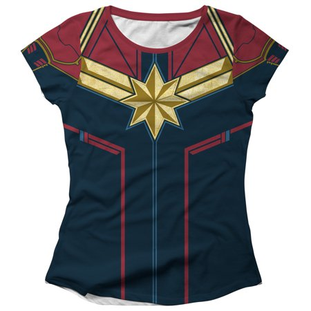 Marvel Juniors' Captain Marvel Epic Hero Costume All-Over Print T-Shirt](Marvel Heroes Womens)