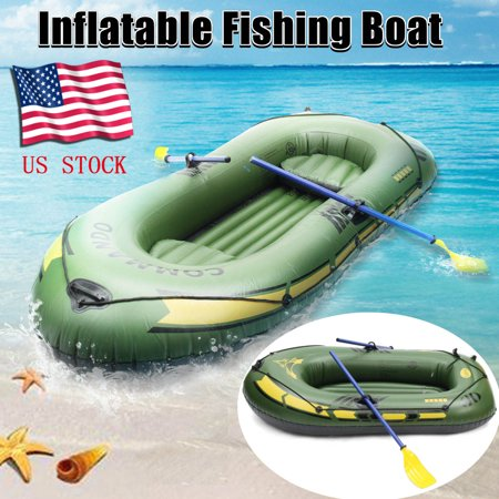 Multifunctional 2/3 Person Inflatable Fishing Boat / Tender Dinghy Raft, Suit for Water Sports, River Fishing, Full Accessories - Inflatable Cow Suit