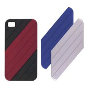 Ventev VersaDUO Snap-On Case for iPhone 4 (Black with Blue/Red/Silver Inlay)