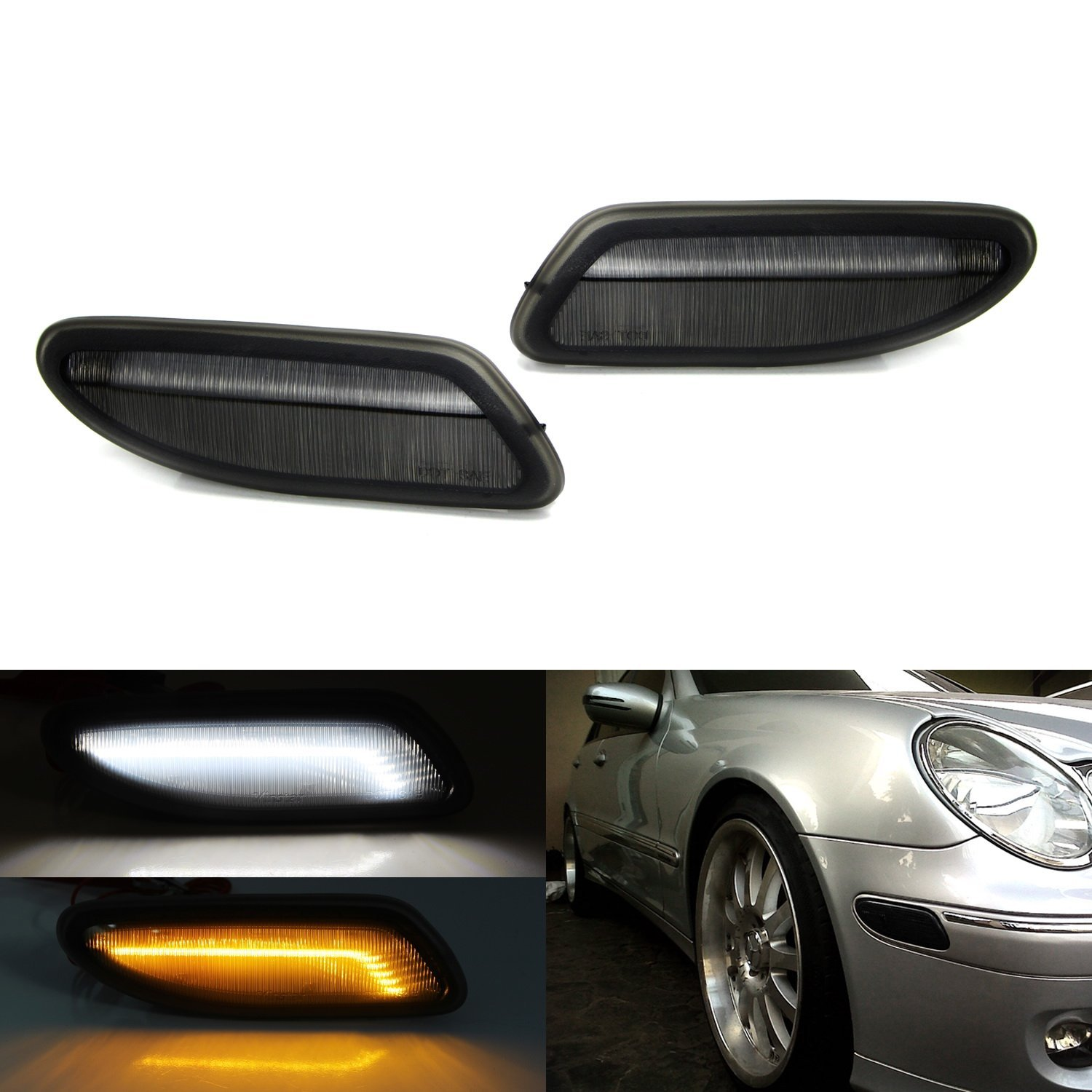 iJDMTOY (2) Euro Smoked Lens Amber LED Side Marker Lights Fit 2001-2007 Mercedes W203 C-Class Sedan