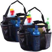 Shower Caddy Mesh Bag College Dorm Bathroom Carry Tote Hanging Organizer 2 Pack (Black)