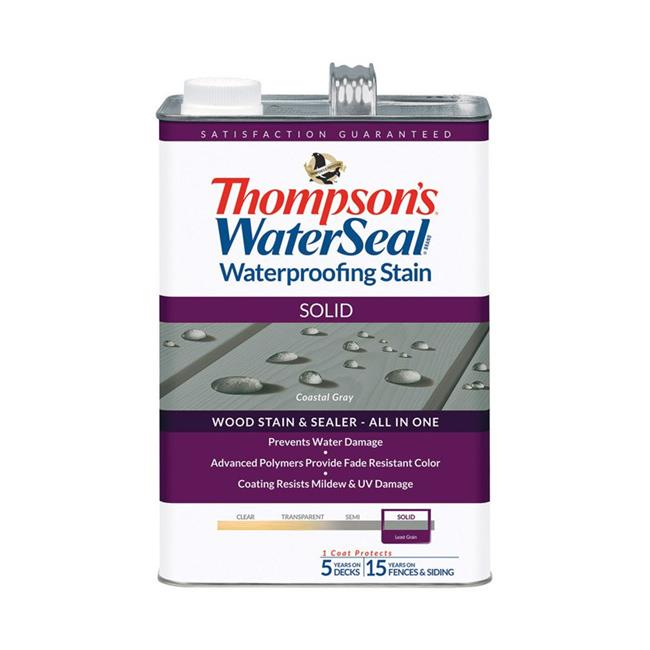 Thompsons Waterseal 1895127 Solid Coastal Gray Waterproofing Wood Stain & Sealer, 1 gal - Case of 4