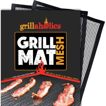 Grillaholics Mesh Grill Mat Perfect for Smoking Meat & Grilling (Free Aluminum Mesh Grill)