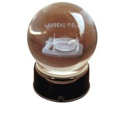 Paragon Innovations NewLambeauLES Lambeau Field sub-surface etched in a lit  musical and turning crystal ball