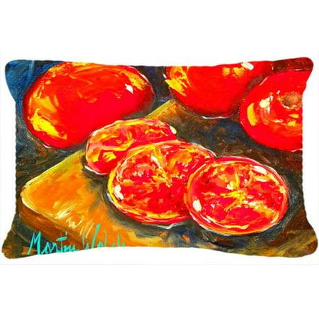 Carolines Treasures MW1099PW1216 Vegetables - Tomatoes Slice It Up Indoor & Outdoor Fabric Decorative Pillow - image 1 de 1