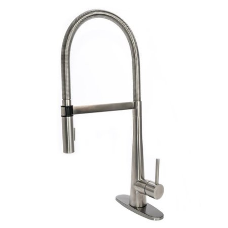 Fontaine By Italia Gourmet Spring Pull Down Single Handle Kitchen Faucet With Deck Plate
