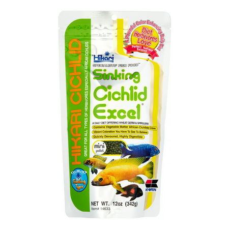 Hikari Sinking Cichlid Excel Mini Sinking Pellets Wheat Germ Cichlid Fish Food, 12