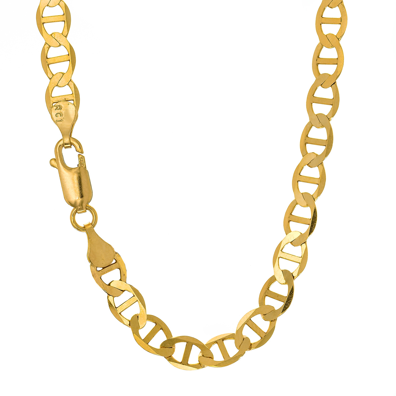 "14k Solid Yellow Gold 3.2mm Mariner Chain Anklet 10"" Lobster Claw"