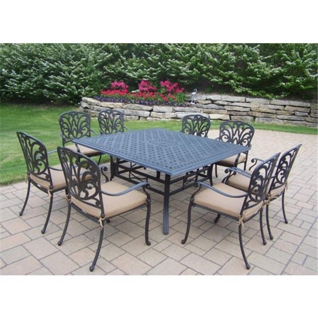 Oakland Living 7206-7201-17-D56-AB 60 in. Hampton Aluminum 9 Piece Dining Room Set with Cushions by Oakland Living Corporation