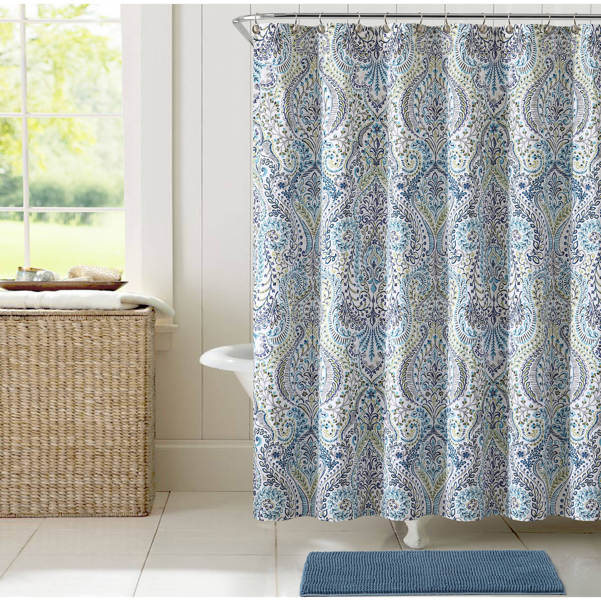 VCNY Home Anson Damask Printed 14-Piece Bath Set, Shower Curtain Hooks and Bath Rug Included