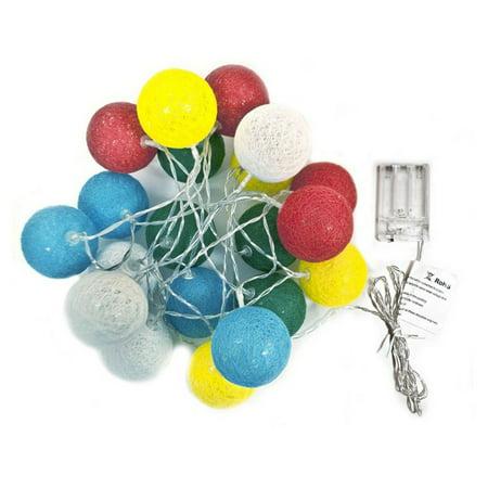 20 Light Ball End (ALEKO 2B20LEDCOBALLWH Battery 20 LED Multicolor Cotton Balls String White Light Christmas Holiday Light, 7', Lot of 2)