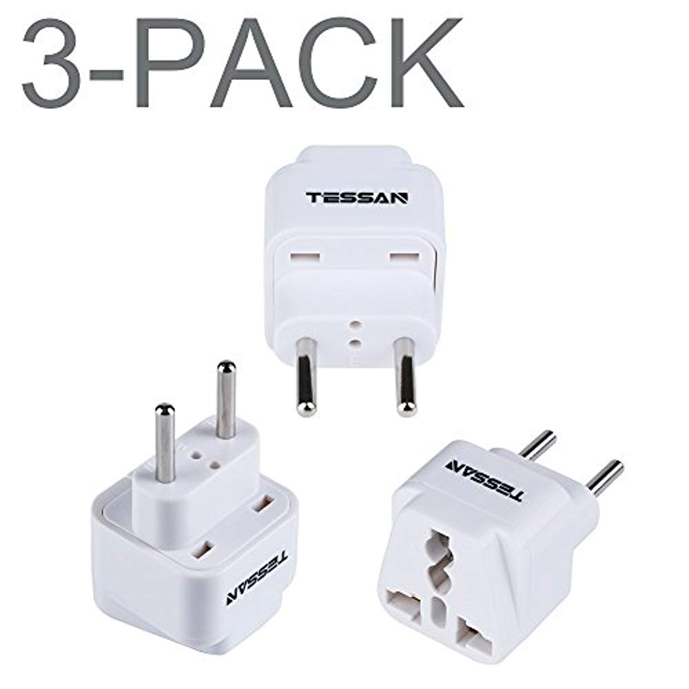 Squad Marketing Grounded Universal Travel Power New Strip Plug Adapter USA to the more of Europe Travel Prong Converter Adapter Plug Kit for the more of Europe(Type C)- 3 Pack(WHITE)
