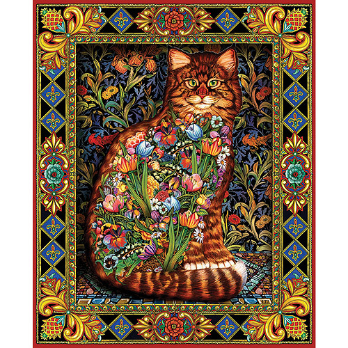 White Mountain Puzzles Tapestry Cat, 1000-pieces