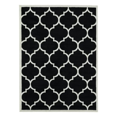 Charlton Home Standridge Moroccan Trellis Design Black White Area Rug