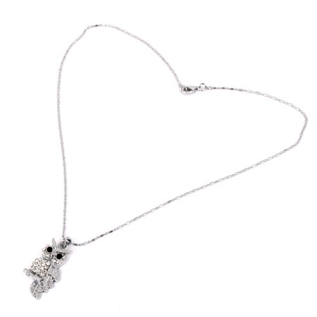 Metal Owl Shape Pendant Lobster Clasp Chain Sweater Necklace Neckwear for Lady - image 2 de 2