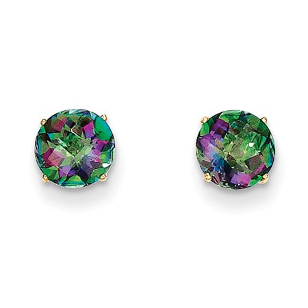 6mm Round Mystic Fire Topaz Stud Earrings In 14k Yellow Gold