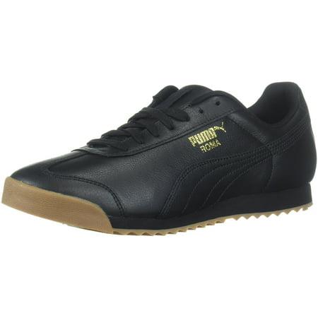 PUMA 366408-02 : Men's Roma Classic Gum Sneaker Black Team Gold (Team Handball Shoes)