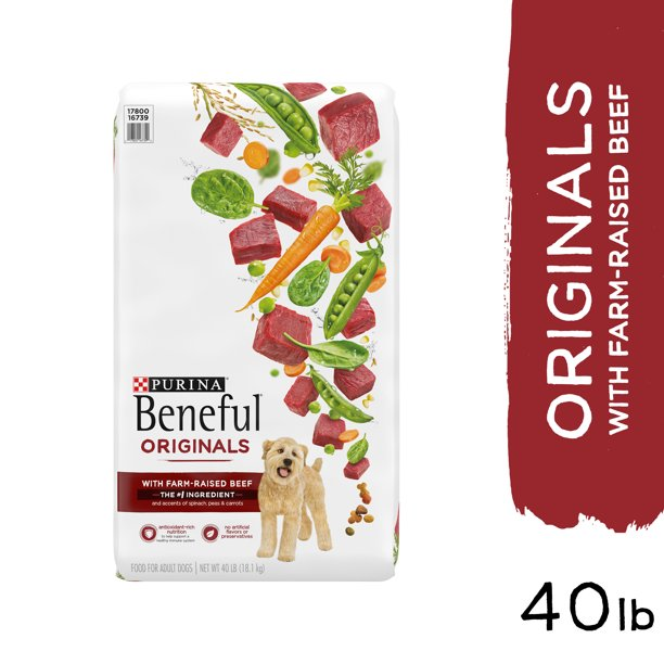 Purina Beneful Real Meat Dry Dog Food, Originals With Farm-Raised Beef, 40 lb. Bag