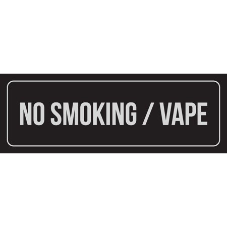 Black Background With Silver Font No Smoking / Vape Office Business Retail Outdoor & Indoor Metal Wall Sign, 3x9