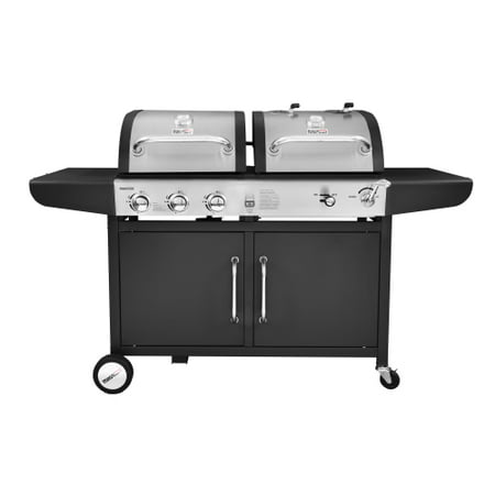 Royal Gourmet ZH3002 3-Burner 27,000-BTU Dual Fuel Cabinet Gas and Charcoal Grill Combo, Outdoor Barbecue,