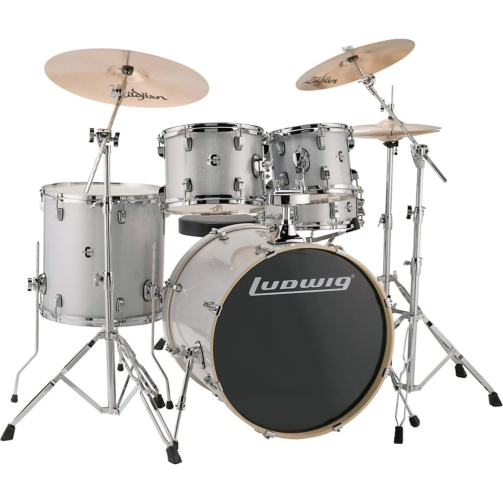 """Ludwig LCEE22028 Element Evolution 22"""" Bass Drum 5-Piece Drum Set w  Hardware & Cymbals White Sparkle by Ludwig"""