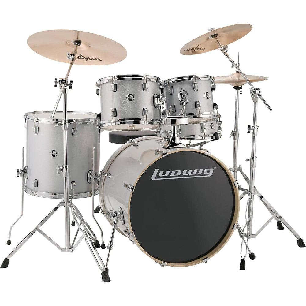 "Ludwig LCEE22028 Element Evolution 22"" Bass Drum 5-Piece Drum Set w/ Hardware & Cymbals - White Sparkle"