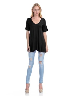 2102549d Product Image KOGMO Womens Short Sleeve V Neck Loose Fit Basic Knit Tunic  Top (S-3X