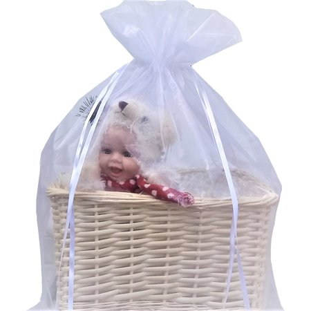 Organza Gift Basket bags, Large Jumbo 22 inchx25 inch packaging bag (WHITE) - Halloween Gift Baskets To Make